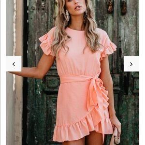 VICI Lovina Cotton Ruffle Wrap Dress - Peach
